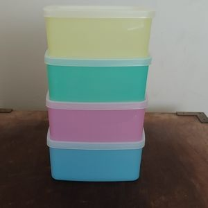 NOS New Vintage Tupperware Pastel Square Rounds